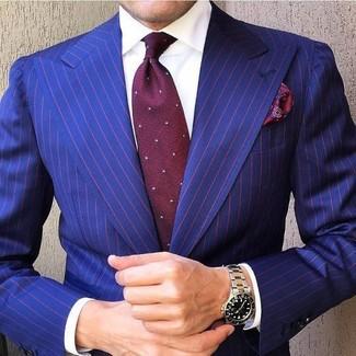 How to wear: burgundy paisley pocket square, burgundy polka dot tie, white dress shirt, blue vertical striped blazer