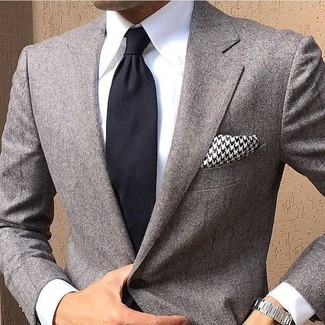 309661b3b5f2 How to wear: black and white houndstooth pocket square, black tie, white  dress