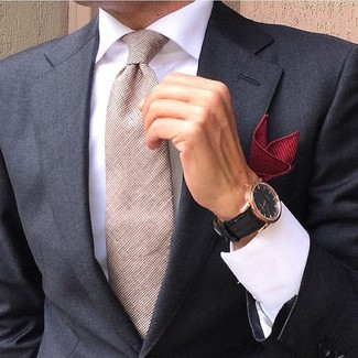 How to wear: red pocket square, beige tie, white dress shirt, black blazer