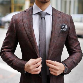 How to wear: grey paisley pocket square, grey knit tie, grey dress shirt, burgundy plaid blazer