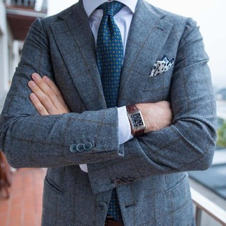 How to wear: white and navy print pocket square, teal print tie, white dress shirt, grey check wool blazer