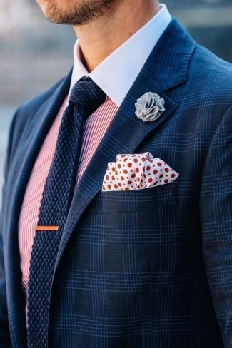How to wear: white and red polka dot pocket square, navy knit tie, white and red vertical striped dress shirt, navy plaid blazer