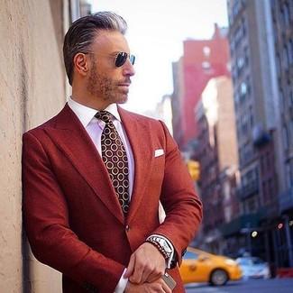 How to wear: white pocket square, burgundy polka dot tie, white dress shirt, red blazer