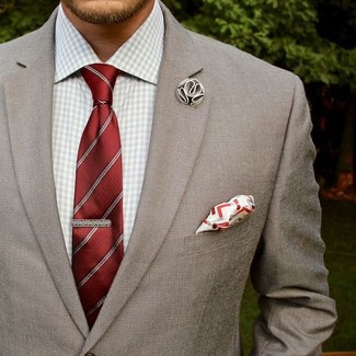 How to wear: white and red pocket square, red vertical striped tie, grey gingham dress shirt, grey blazer