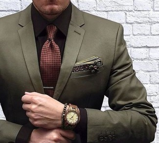 How to wear: olive floral cotton pocket square, burgundy herringbone tie, dark brown dress shirt, olive blazer