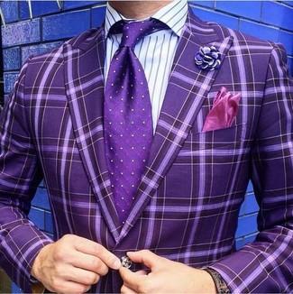 How to wear: purple pocket square, purple polka dot tie, purple vertical striped dress shirt, purple check blazer