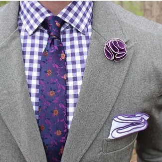 How to wear: white pocket square, violet floral tie, violet gingham dress shirt, grey blazer