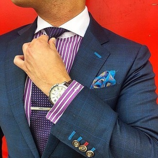 How to wear: blue print pocket square, dark purple polka dot tie, purple vertical striped dress shirt, navy check blazer