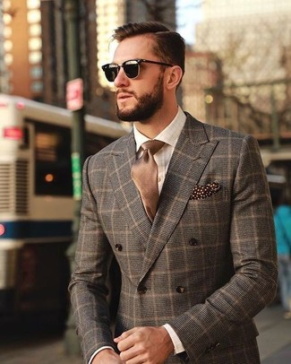 How to Wear a White Check Dress Shirt For Men: Loving how this combo of a white check dress shirt and a brown check double breasted blazer immediately makes any gent look classy and stylish.