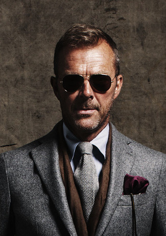 How to wear: dark purple pocket square, grey knit tie, grey check dress shirt, grey overcoat