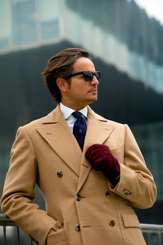 How to wear: burgundy suede gloves, navy tie, white dress shirt, camel overcoat