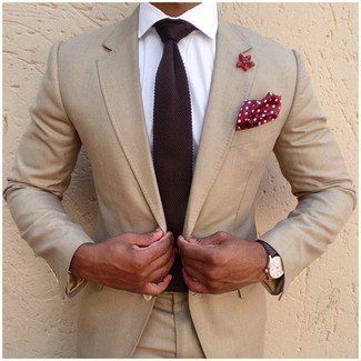 How to wear: red and white polka dot pocket square, burgundy knit tie, white dress shirt, beige suit