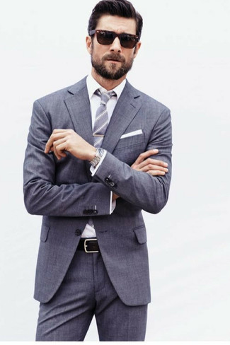 How to wear: white pocket square, grey vertical striped tie, white dress shirt, grey suit
