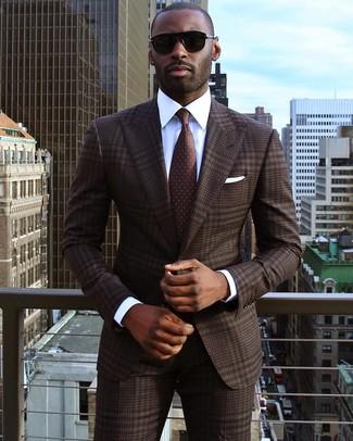 How to wear: white pocket square, dark brown polka dot tie, white dress shirt, dark brown plaid suit