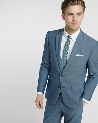 How to wear: white pocket square, teal print tie, white dress shirt, teal suit