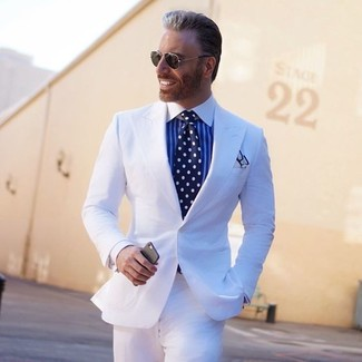 How to wear: white pocket square, navy and white polka dot tie, white and blue vertical striped dress shirt, white suit