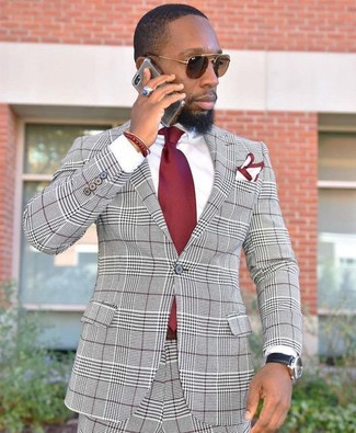 How to wear: white and red pocket square, red tie, white dress shirt, grey plaid suit