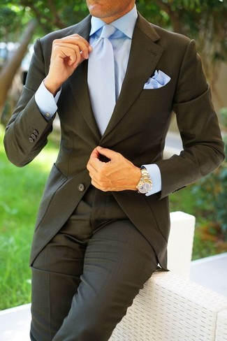 How to wear: light blue pocket square, light blue tie, light blue dress shirt, charcoal suit