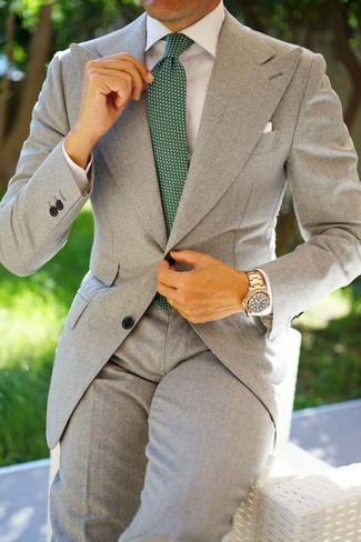 How to wear: white pocket square, dark green polka dot tie, white dress shirt, grey suit