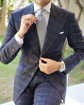 How to wear: white pocket square, grey polka dot tie, white dress shirt, charcoal check suit