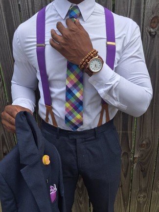 How to wear: purple pocket square, multi colored plaid tie, white dress shirt, charcoal suit