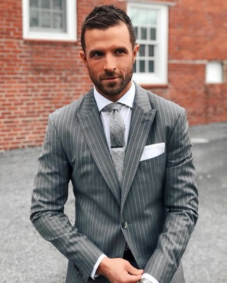 How to wear: white pocket square, grey tie, white dress shirt, grey vertical striped suit
