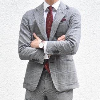 How to wear: burgundy pocket square, burgundy paisley tie, white dress shirt, grey plaid suit