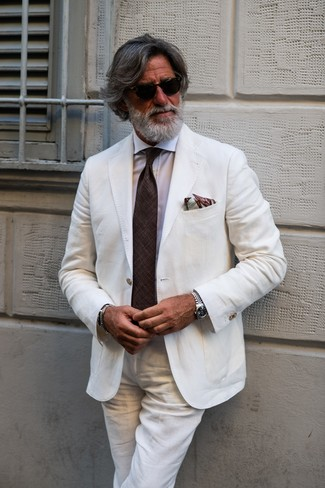 How to wear: brown print pocket square, dark brown tie, white dress shirt, white linen suit