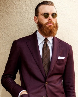 How to wear: white pocket square, brown plaid tie, white dress shirt, burgundy suit