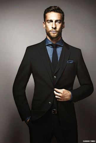 How to wear: navy pocket square, black tie, navy chambray dress shirt, black three piece suit