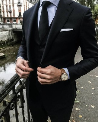 How to wear: white pocket square, black tie, grey vertical striped dress shirt, black three piece suit