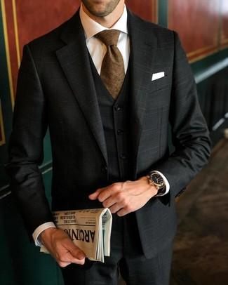 How to wear: white pocket square, brown tie, white dress shirt, black plaid three piece suit