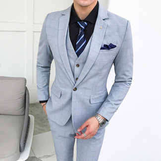 How to Wear a Navy Horizontal Striped Tie For Men: Solid proof that a light blue check three piece suit and a navy horizontal striped tie are awesome when teamed together in a classy outfit for a modern gent.