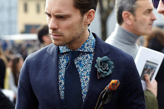 How to wear: orange print pocket square, navy tie, blue floral long sleeve shirt, navy check blazer