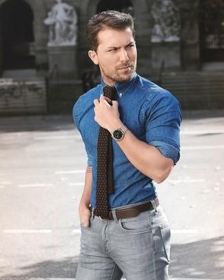 How to wear: dark brown leather belt, dark brown polka dot tie, grey skinny jeans, blue denim shirt