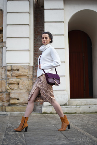 How to wear: purple leather crossbody bag, tobacco suede ankle boots, gold pencil skirt, white turtleneck