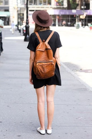 How to wear: dark brown wool hat, tobacco leather backpack, white leather ballerina shoes, black shift dress