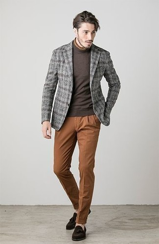 How to wear: dark brown suede tassel loafers, tobacco chinos, dark brown turtleneck, grey plaid wool blazer