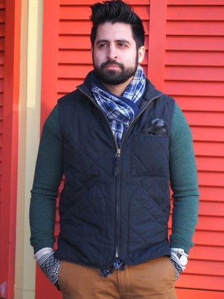 How to wear: blue plaid scarf, tobacco chinos, dark green crew-neck sweater, navy gilet