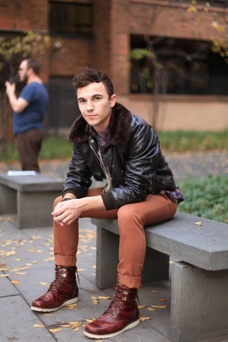 How to wear: burgundy leather casual boots, tobacco chinos, navy plaid long sleeve shirt, dark brown leather bomber jacket