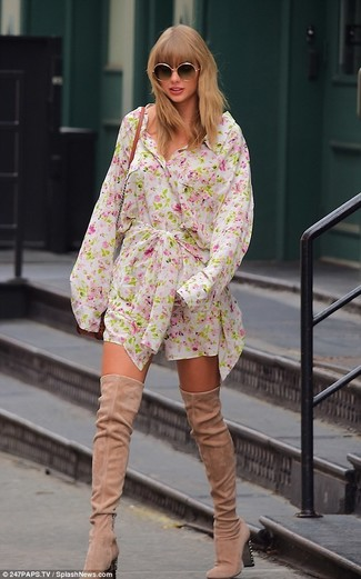 How to wear: black sunglasses, tobacco leather crossbody bag, beige suede over the knee boots, white floral shirtdress