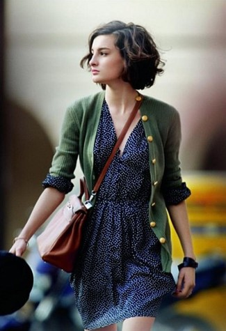 How to wear: black leather watch, tobacco leather crossbody bag, navy polka dot skater skirt, dark green cardigan