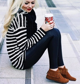 How to wear: black scarf, tobacco suede desert boots, black skinny jeans, white and black horizontal striped oversized sweater