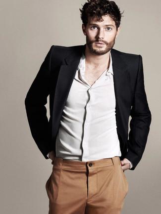 How to wear: tobacco dress pants, white long sleeve shirt, black blazer