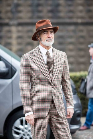 How to wear: brown wool tie, tobacco wool hat, white dress shirt, multi colored gingham three piece suit