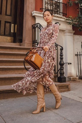 How to wear: tobacco leather tote bag, tan leather knee high boots, burgundy paisley maxi dress