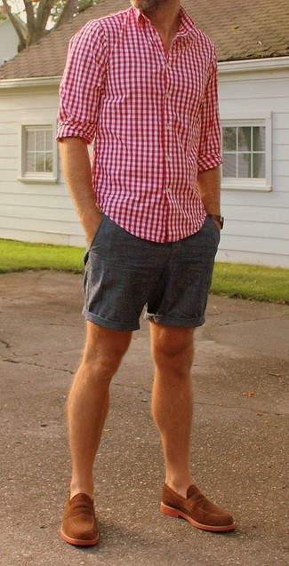 How to wear: dark brown leather watch, tobacco suede loafers, navy shorts, white and red and navy gingham long sleeve shirt