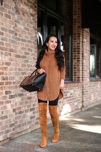 How to wear: black and tan leopard leather tote bag, tobacco suede over the knee boots, black leggings, brown knit wool tunic