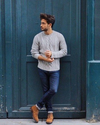 How to wear: tobacco suede casual boots, navy skinny jeans, grey cable sweater