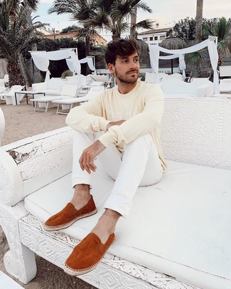 How to wear: tobacco suede espadrilles, white jeans, yellow print crew-neck sweater